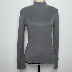 NWT Liz Claiborne Metallic Gray Ribbed Turtleneck